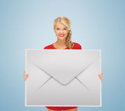 Woman showing virtual envelope Royalty Free Stock Images