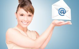Woman showing virtual envelope Stock Photography