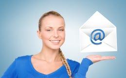 Woman showing virtual envelope Stock Image