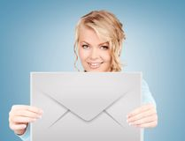Woman showing virtual envelope Stock Photos