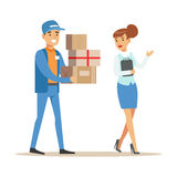Woman Showing The Way For Delivery Service Worker, Smiling Courier Delivering Packages Illustration. Vector Cartoon Male Character In Uniform Carrying Packed Royalty Free Stock Photos