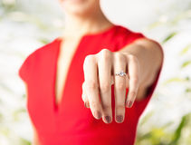 Woman showing wedding ring on her hand Royalty Free Stock Image
