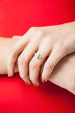 Woman showing wedding ring on her hand Stock Photography