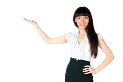 Woman showing on white Royalty Free Stock Images
