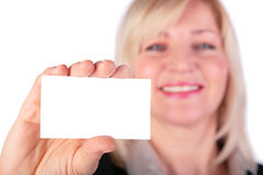 Woman showing white card royalty free stock images