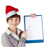 Woman showing on whiteboard Royalty Free Stock Photo