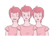 Woman shown in different moods. Illustration of middle aged woman shown in different moods crying, angry, happy. She experienced mood swings vector illustration