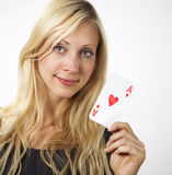 Woman shows Ace card Stock Image