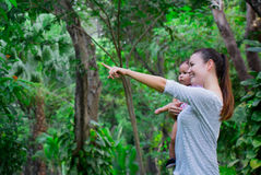Woman shows a baby around the lush rainforest and the sights it has to offer. Mother and infant exploring a beautiful rainforest Royalty Free Stock Photography