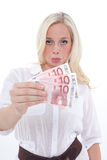 Woman shows banknotes Royalty Free Stock Photos