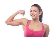 Woman shows biceps Stock Photo