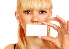 Woman shows the business card stock image