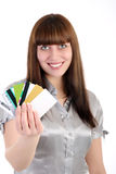 Woman shows credit cards Royalty Free Stock Photos