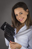 Woman shows empty wallet Royalty Free Stock Images