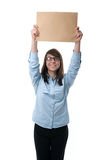 Woman shows finger  the envelope Royalty Free Stock Images