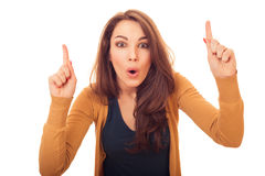 Woman shows finger up have an idea Stock Photography