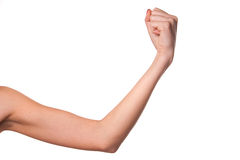 Woman shows a fist. Royalty Free Stock Photo
