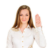Woman shows four finger Stock Photo