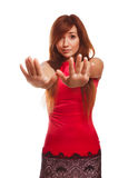 Woman shows gesture no emotions locked hand Royalty Free Stock Photography