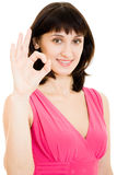 A woman shows a gesture okay Stock Photos