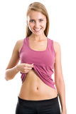 Woman shows her belly Stock Images