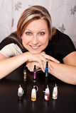 Woman shows her collection of e-cigarettes Stock Photos