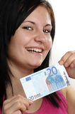woman shows her twenty euro banknote Stock Photos