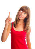 Woman shows an index finger upwards Royalty Free Stock Photo