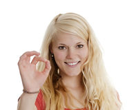 Woman shows o,k, Stock Photography