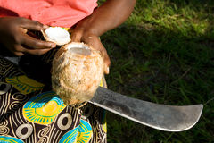 Woman shows opened coconut. Royalty Free Stock Photos