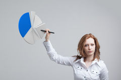 Woman shows a pie chart, circle diagram. Business analytics concept. Young Businesswoman shows a pie chart (circle diagram). Business analytics concept Stock Photos