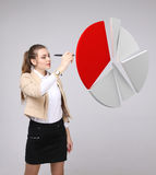 Woman shows a pie chart, circle diagram. Business analytics concept. Young Businesswoman shows a pie chart (circle diagram) on grey background. Business Stock Image