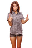 Woman shows positive sign thumbs yes, shirt Royalty Free Stock Photo