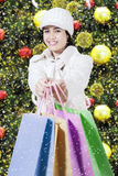 Woman shows shopping bags with christmas decorations Royalty Free Stock Image