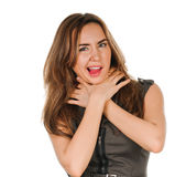 Woman shows sign asphyxiation Royalty Free Stock Images