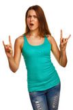 Woman shows sign devil rock metal girl in jeans Stock Photography