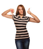 Woman shows signs yes and no, hand fingers Royalty Free Stock Photo