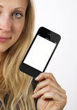 Woman shows smart phone Royalty Free Stock Photos