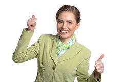 Woman shows thumbs up Royalty Free Stock Photo