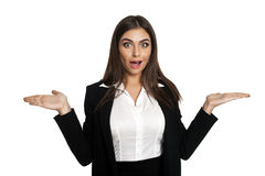 Woman shrugging in disbelief Stock Photo