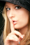 Woman shush sign Royalty Free Stock Photo