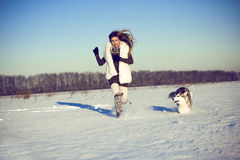 Woman with siberian husky royalty free stock images