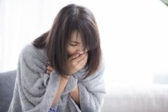Woman sick and cough royalty free stock photography