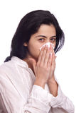 Woman sick with flu Royalty Free Stock Image