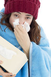 Woman sick with flu Royalty Free Stock Photography