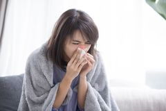 Woman sick and sneeze stock images