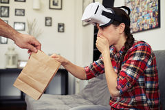 Woman sick after watching a virtual reality glasses Royalty Free Stock Image