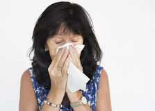 Woman Sickness Sneeze Fever Concept Stock Images