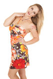Woman side view flower dress looking Royalty Free Stock Photography