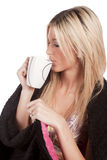 Woman side view mug drinking Stock Photos